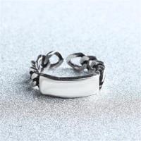 【米蘭精品】925純銀戒指光面開口戒時尚大方鎖鏈復古73gp53