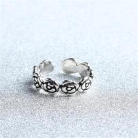 【米蘭精品】925純銀戒指玫瑰花開口戒時尚精緻優雅百搭73gp56