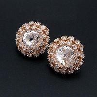 【米蘭精品】玫瑰金純銀耳環鑲鑽耳飾時尚流行奢華耀眼2色73gt38