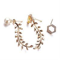 【米蘭精品】玫瑰金純銀耳環鑲鑽耳飾韓版時尚柳葉造型73gt41