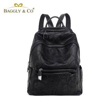 【BAGGLY&CO】多口袋繡線系列真皮後背包(黑色)