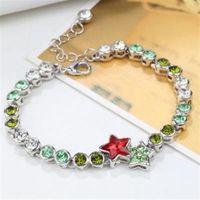 【米蘭精品】925純銀手鍊水晶手環繽紛絢麗閃耀星星16色73ak103