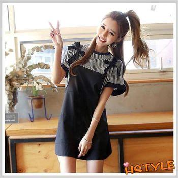 套裝 圓領條紋休閒短袖吊帶裙套裝OR6169-創翊韓都