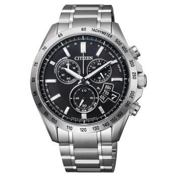 CITIZEN 光動能電波萬年曆計時錶-黑/42mm BY0130-51E