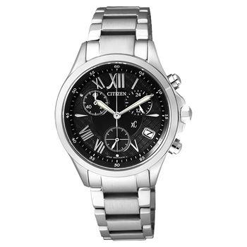 CITIZEN xC 光動能羅馬戀人計時腕錶-黑/32mm FB1400-78E