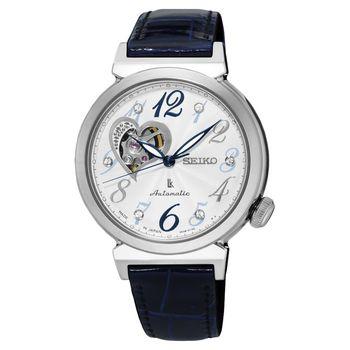 SEIKO LUKIA 愛戀開芯經典機械錶-銀x藍色錶帶/34mm 4R38-01C0B(SSA843J1)