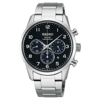 SEIKO SPIRIT 太陽能時尚計時腕錶-黑/39mm V175-0BJ0A(SBPY137J)