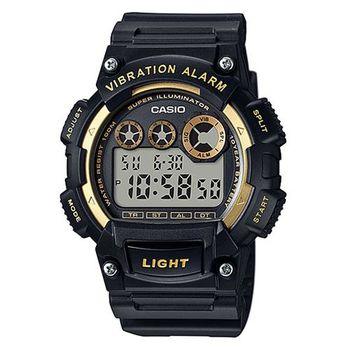 【CASIO】 超亮LED強悍震動數位運動錶-黑x金框 (W-735H-1A2)