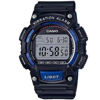 【CASIO】 強悍頂尖休閒玩家必備數位運動錶-黑X藍框 (W-736H-2A)