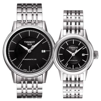 TISSOT Carson Powermatic 80 機械對錶-黑 T0854071105100+T0852071105100