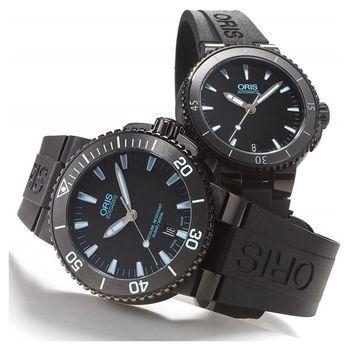 Oris Aquis 潛水機械對錶-黑x藍 0173376534725-0742634BEB+0173376524725-0741834B