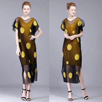 【糖潮】兩件式波點拼接網紗壓摺開衩連衣裙