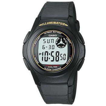 【CASIO】 超強10年電力數位錶-黑色黃字 (F-200W-9A)