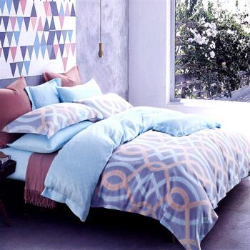 【情定巴黎】思绪 100%高密嫩柔天丝特大四件式两用被床包组