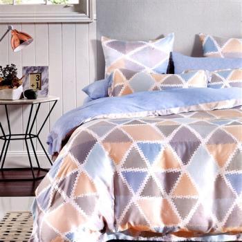 【情定巴黎】几何 100%高密嫩柔天丝特大四件式两用被床包组