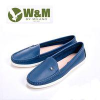 W&M 袖扣豆豆鞋莫卡辛鞋女鞋-深藍(另有白)