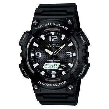 【CASIO】 新世代光動遊俠雙顯運動腕錶-黑x白 (AQ-S810W-1A)