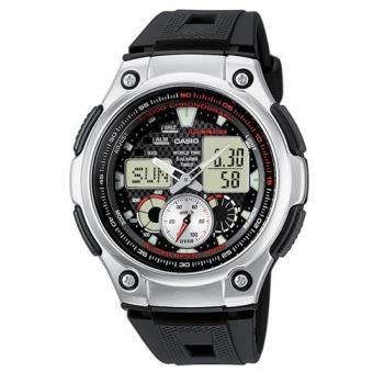 【CASIO】 超世代城市風格雙顯指針膠帶錶-黑面 (AQ-190W-1A)