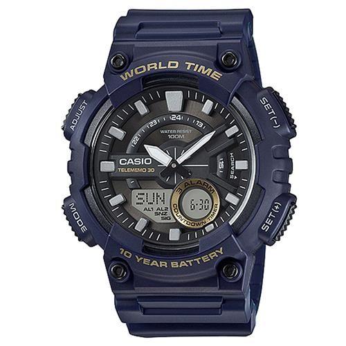 【CASIO】 世界城市玩家雙顯運動錶-深藍 (AEQ-110W-2A)