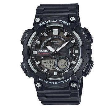 【CASIO】 世界城市玩家雙顯運動錶-黑 (AEQ-110W-1A)
