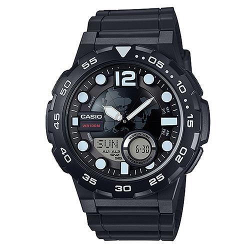 【CASIO】 悍將世界潛水風格地圖玩家雙顯運動錶-黑 (AEQ-100W-1A)