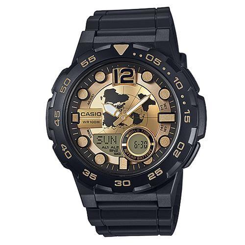【CASIO】 悍將世界潛水風格地圖玩家雙顯運動錶-金面 (AEQ-100BW-9A)