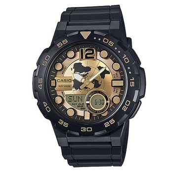 【CASIO】 悍將世界潛水風格地圖玩家雙顯運動錶-金面 (AEQ-100BW-9)