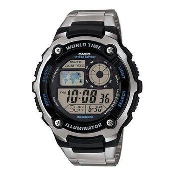 【CASIO】 城市玩家地圖數位不銹鋼錶 (AE-2100WD-1A)