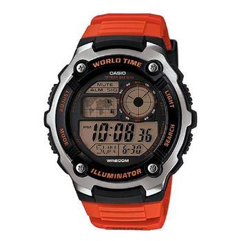 【CASIO】 城市玩家地圖數位運動錶-紅 (AE-2100W-4A)