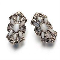 【米蘭精品】玫瑰金耳環鑲鑽純銀耳飾經典復古獨特花紋73gs135