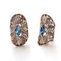 【米蘭精品】玫瑰金耳環鑲鑽純銀耳飾高貴古典迷人設計73gs145