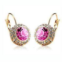 【米蘭精品】玫瑰金耳環鑲鑽純銀耳飾奢華璀璨高貴氣質6色73gs212