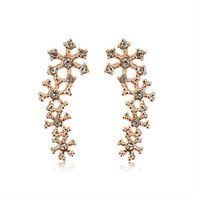 【米蘭精品】玫瑰金耳環鑲鑽純銀耳飾韓版時尚雪花設計2色73gs248