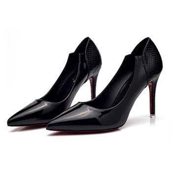 【Alice 】 (現貨+預購) 歐美時尚異材質拼接尖頭高跟鞋