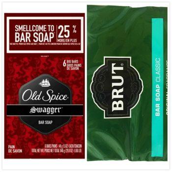 【美國 Old Spice】經典香水皂-搖擺Swagger(5oz/141g)*2入/*4+Brut男士傳統古龍水香皂(3.5oz*2)*4