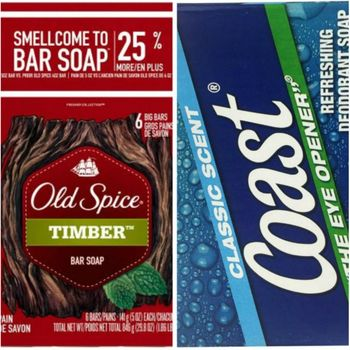 【美國 Old Spice】經典香水皂-木香Timber(141g)*2入/*3+美國COAST 海岸運動香皂(113g)*12