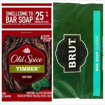 【美國 Old Spice】經典香水皂-木香Timber(5oz/141g)*2入/*4+Brut男士傳統古龍水香皂(3.5oz*2)*4