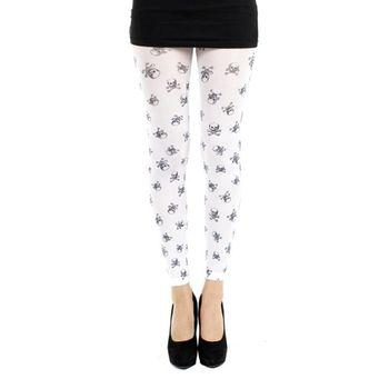 英國進口義大利製【Pamela Mann】可愛小骷髏 內搭褲九分褲襪/無足褲襪