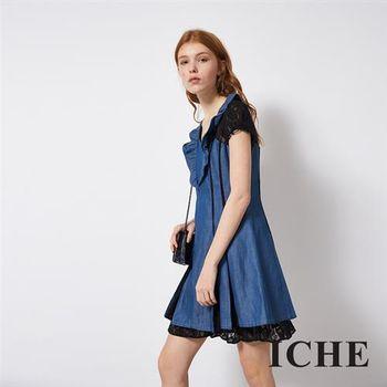 【ICHE 衣哲】蕾絲拼接牛仔單寧造型洋裝