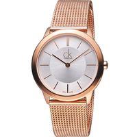 CK Calvin Klein Minimal 俐落米蘭時尚腕錶 K3M22626 玫瑰金色(35mm)