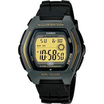 【CASIO】 帥氣酒桶兩地時間錶-黃框 (HDD-600G-9A)