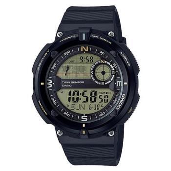【CASIO】 世界地圖概念雙傳感器數位運動錶-黃面 (SGW-600H-9)