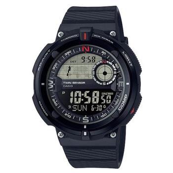 【CASIO】 世界地圖概念雙傳感器數位運動錶-黑框 (SGW-600H-1)