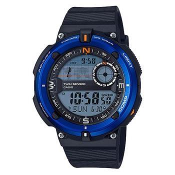 【CASIO】 世界地圖概念雙傳感器數位運動錶-藍框 (SGW-600H-2)
