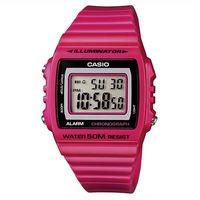 【CASIO】 超亮LED大螢幕方形數位錶-桃紅 (W-215H-4A)