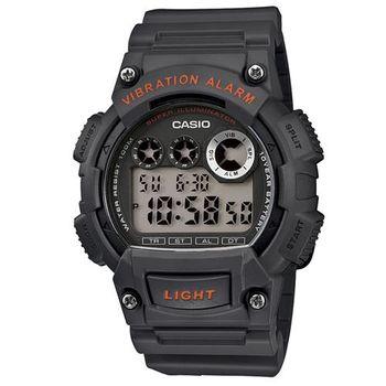 【CASIO】 超亮LED強悍震動數位運動錶-深灰 (W-735H-8A)