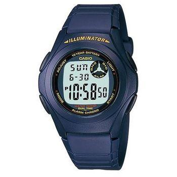 【CASIO】 超強10年電力數位錶-藍框紅圈 (F-200W-2A)