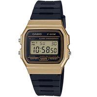 【CASIO】 運動小子電子錶黑x金框 (F-91WM-9A)