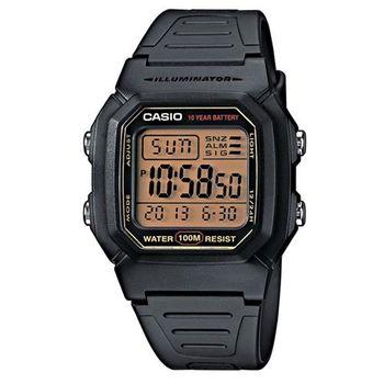 【CASIO】 10Year 黑武士電子錶-黑x黃框 (W-800HG-9A)