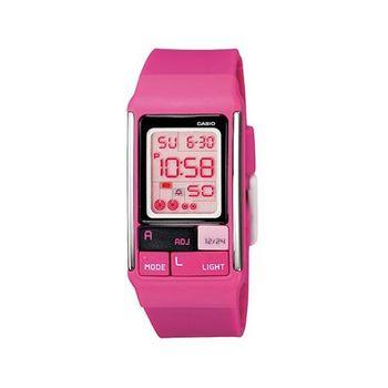 【CASIO】 新幾何積木方塊數字錶-桃紅 (LDF-52-4A)